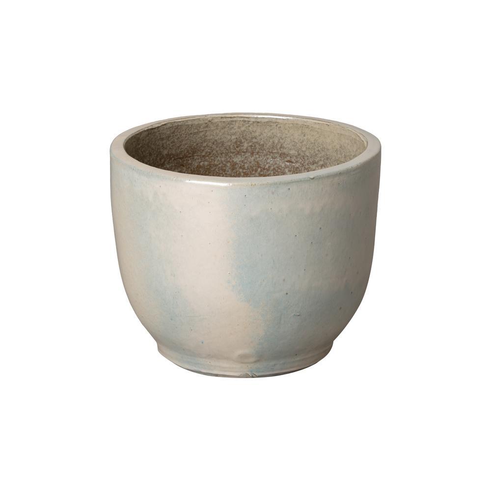 Emissary 15 in. Pearl White Round Ceramic Planter
