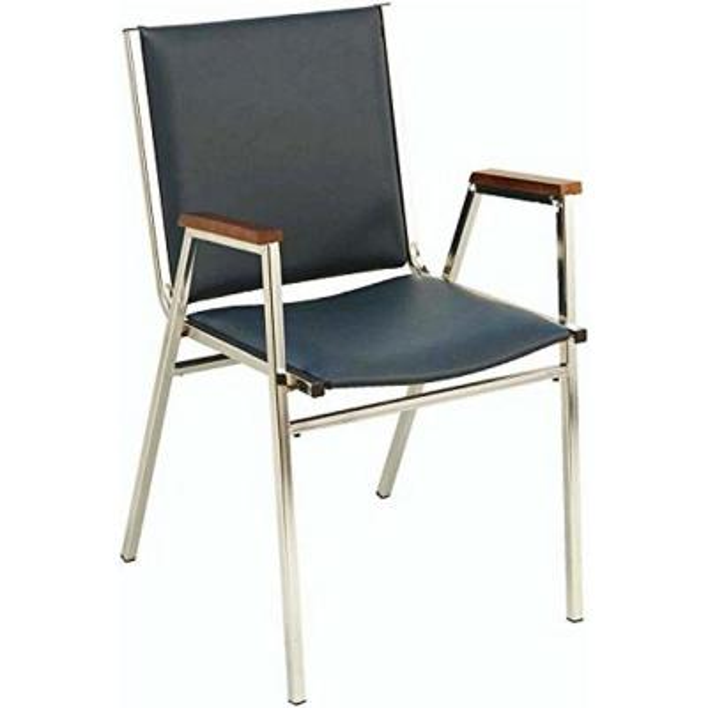Black Vinyl Chrome Frame Stack Office Chair