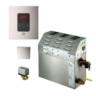 9kW Steam Bath Generator with iTempo AutoFlush Square Package in Polished Nickel