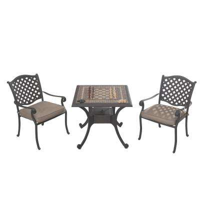 Gaming 3-Piece Patio Bistro Set with Beige Cushions