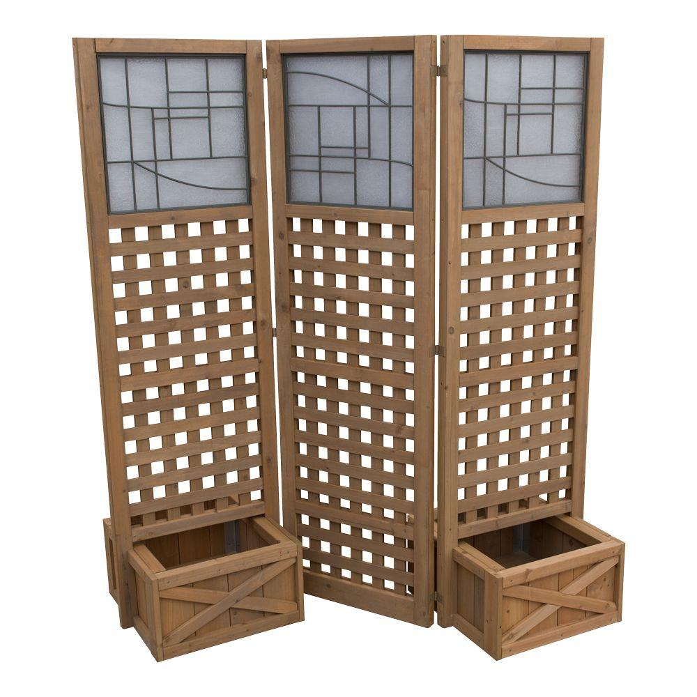 Yardistry 62 in. Cedar Privacy Screen with Planters-YM11615 - The ...