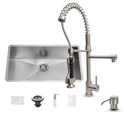 All-in-One Undermount Stainless Steel 30 in. Single Bowl Kitchen Sink in Stainless Steal