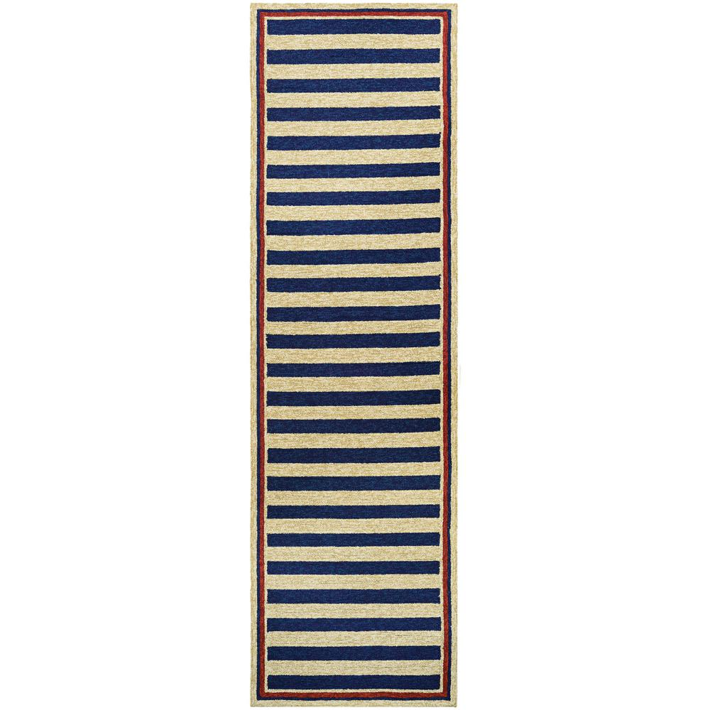 Covington Nautical Stripes Navy Red 2 Ft 6 In X 8 Indoor Outdoor Runner Rug