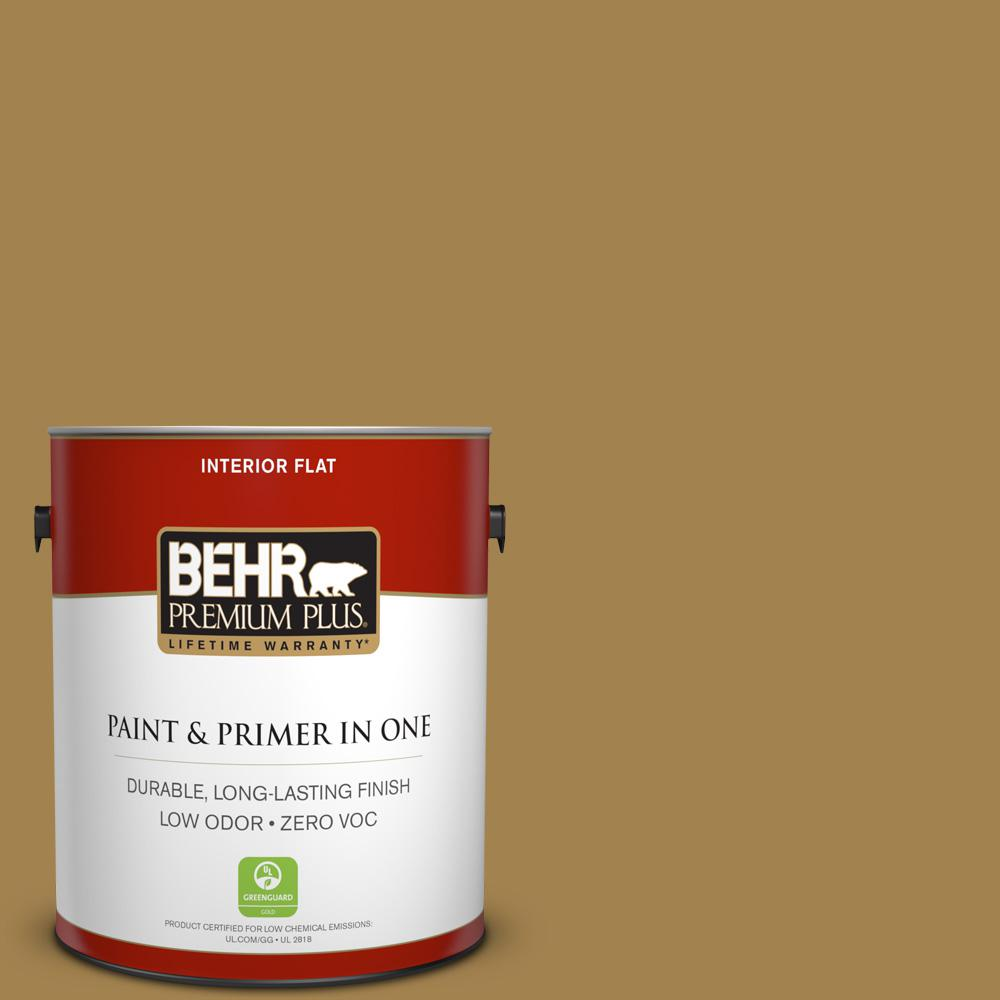 1 gal. #330F-6 Bristle Grass Flat Zero VOC Interior Paint and