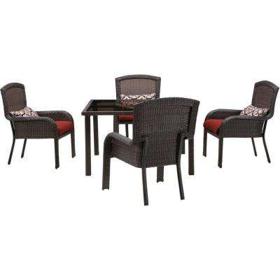 Strathmere 5-Piece All-Weather Wicker Square Patio Dining Set with Crimson Red Cushions