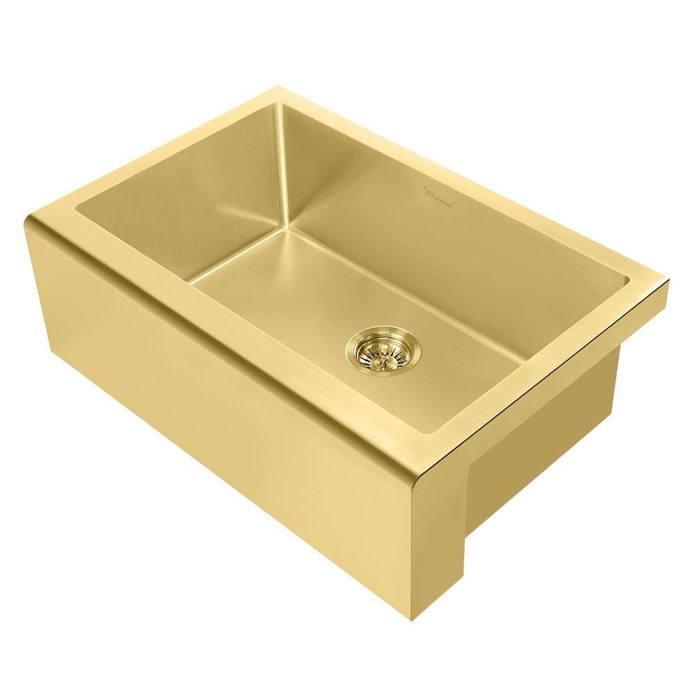 Whitehaus Collection Noah Plus All-in-One Farmhouse Apron Front Stainless  Steel 30 in. Single Bowl Kitchen Sink in Brass Sink Kit