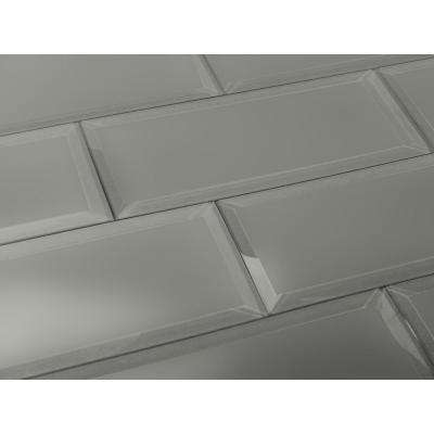 3 in. x 12 in. Frosted Elegance Josephine Gray Matte Glass Peel and Stick Wall Tile Sample