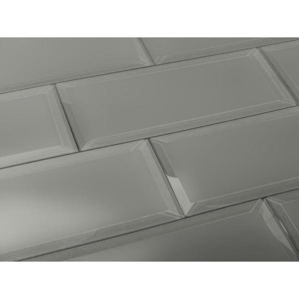 ABOLOS Subway 3 in. x 12 in. Rectangle Gray Beveled Matte