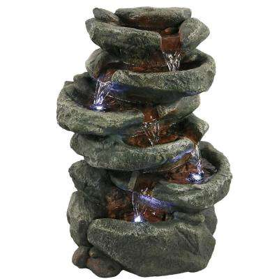 15 in. 6-Tier Stone Tabletop Water Falls Fountain with LED Light