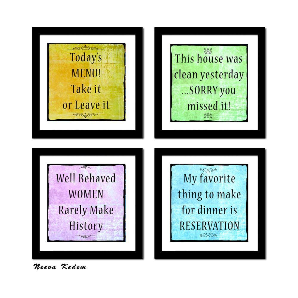 "Four 10 in. x 10 in. ""Fun Art 3"" by Neeva Kedem Framed Printed Wall Art"