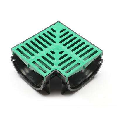 Compact Series 90 Corner for 3.2 in. D Trench and Channel Drain Systems in Black with Green Grate
