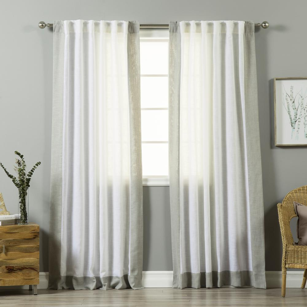 best home fashion 84 in l white linen blend grey bordered. Black Bedroom Furniture Sets. Home Design Ideas