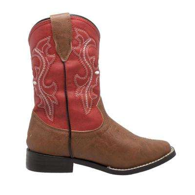 Girls Size 1 Red/Brown Faux Leather 8 in. Western Cowboy Boots