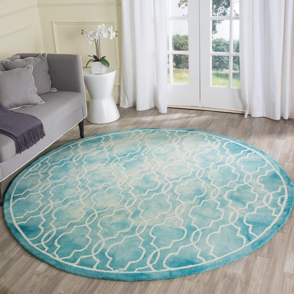 Safavieh Dip Dye Turquoise Ivory 7 Ft X 7 Ft Round Area