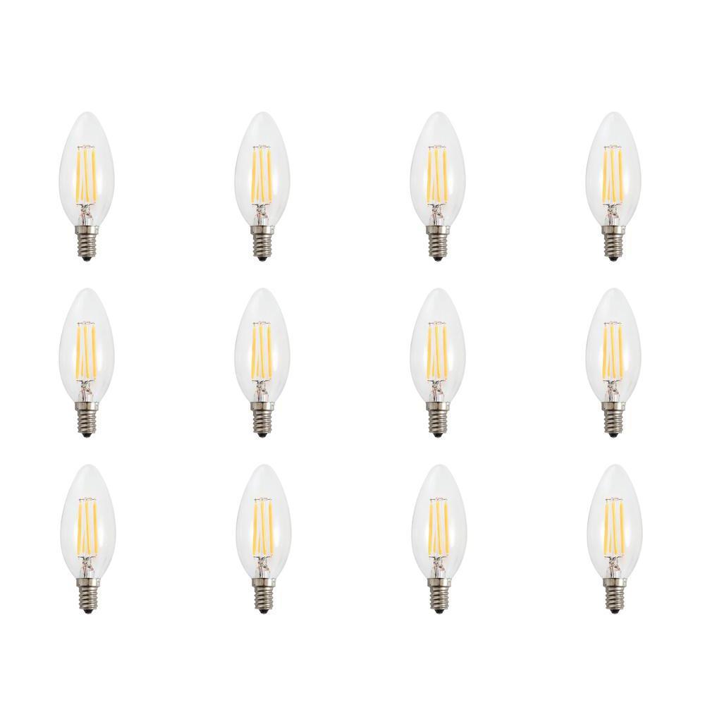 Glomar 60-Watt Equivalent (3000k) B10 LED Light Bulb Warm White (12-Pack)