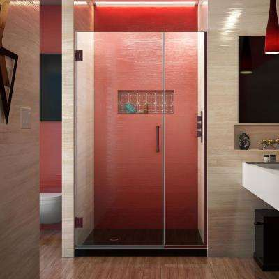 Unidoor Plus 41 to 41.5 in. x 72 in. Frameless Hinged Shower Door in Oil Rubbed Bronze