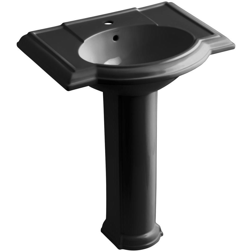 KOHLER Devonshire Vitreous China Pedestal Combo Bathroom Sink in Black Black with Overflow Drain
