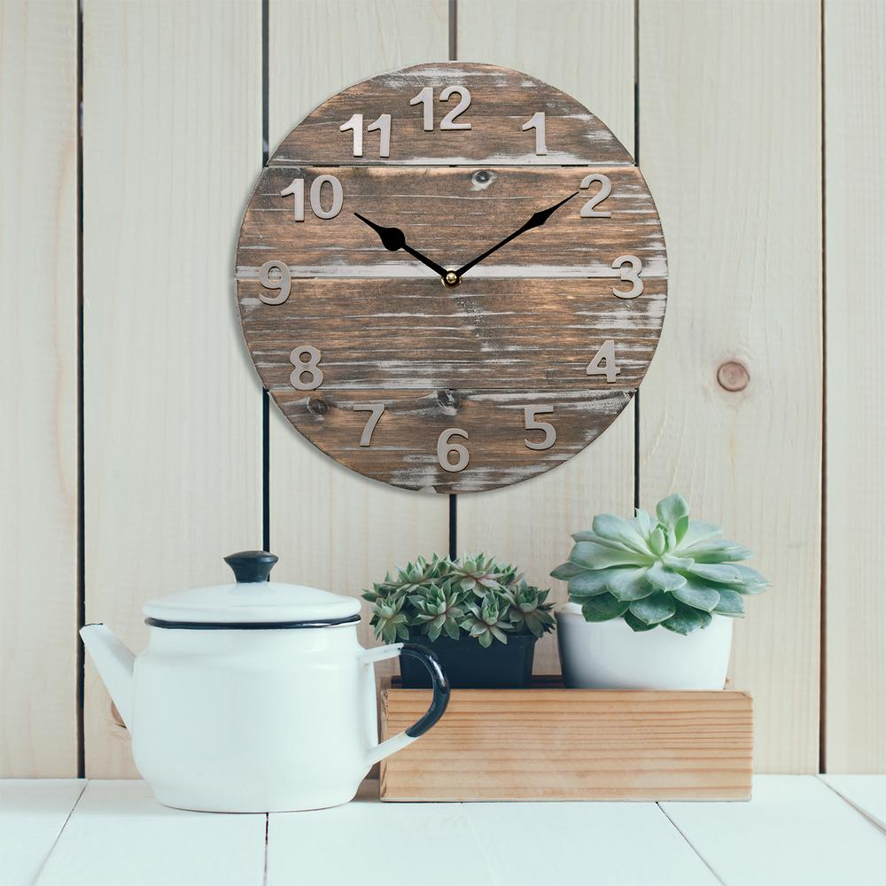 12 in. Round Quartz Wood Panel Wall Clock