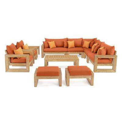 Benson 11-Piece Wood Patio Conversation Set with Sunbrella Tikka Orange Cushions