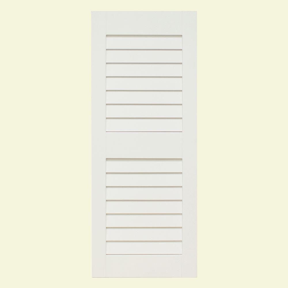 null Plantation 14 in. x 47 in. Solid Wood Louver Exterior Shutters 4 Pair Primed-DISCONTINUED