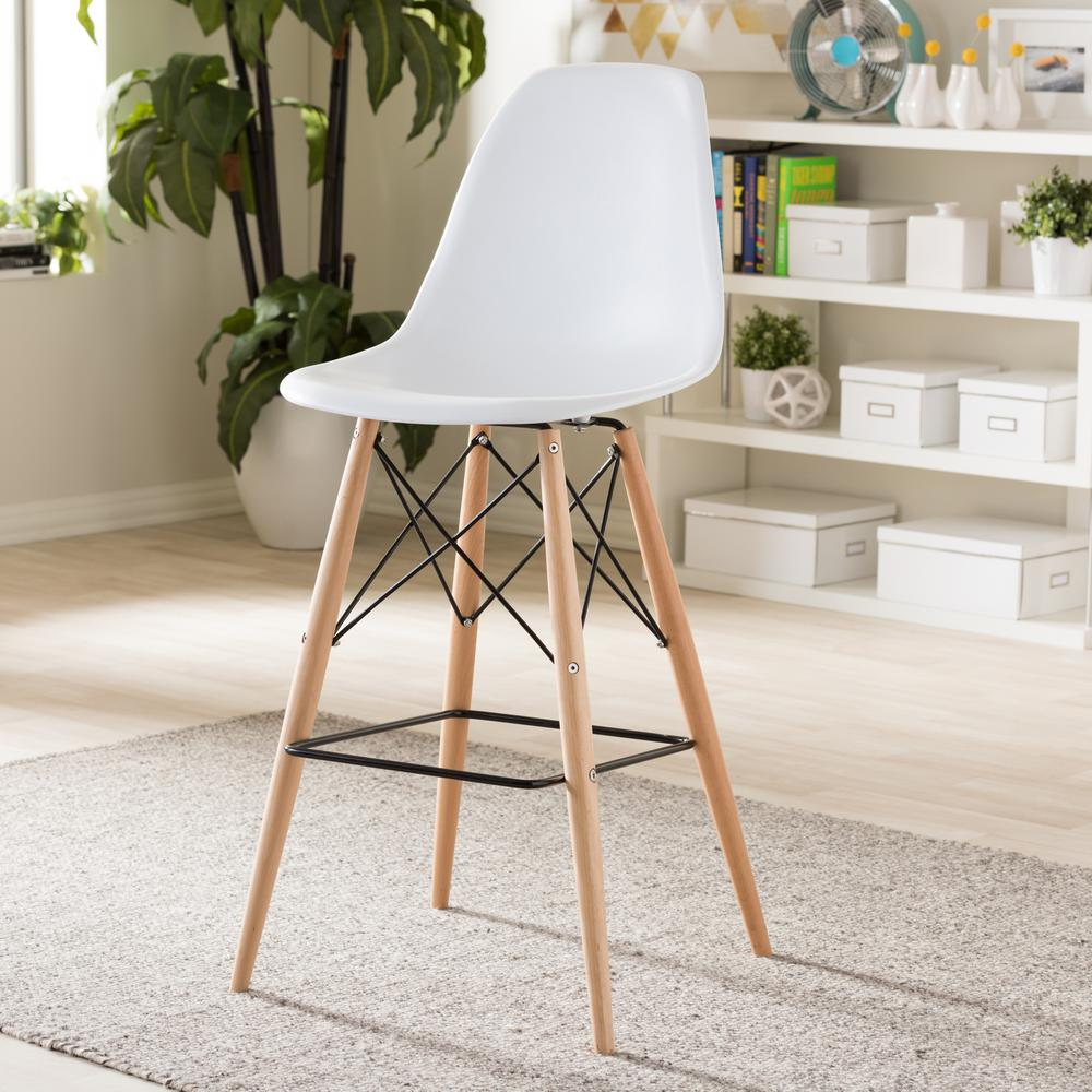 Azzo 29.6 in. H White Plastic Bar Stool