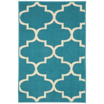 Large Quatrefoil Teal Ivory 3 Ft X 4 Area Rug