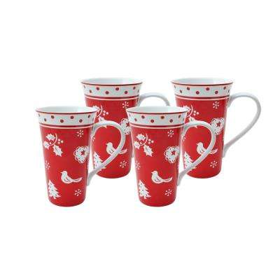 Tivoli Red Latte Mugs (Set of 4)