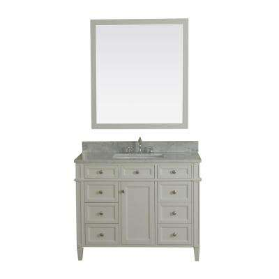 Samantha 42 in. W x 22 in. D Vanity in White with Marble Vanity Top in White with White Basin and Mirror