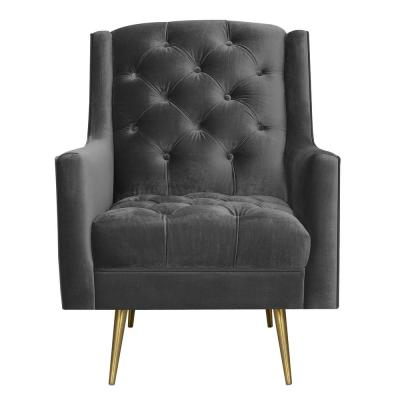 Reese Slate Button Tufted Accent Chair with Gold Legs