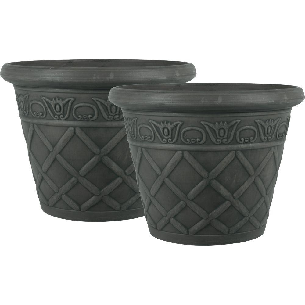 Pride Garden Products 12 in. Round Charcoal Lattice Plastic Planter (2-Pack)