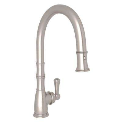 Perrin and Rowe Single-Handle Pull-Down Sprayer Kitchen Faucet in Satin Nickel