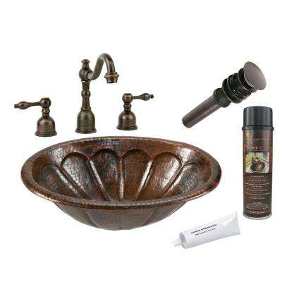 All-in-One Oval Sunburst Self Rimming Hammered Copper Bathroom Sink in Oil Rubbed Bronze