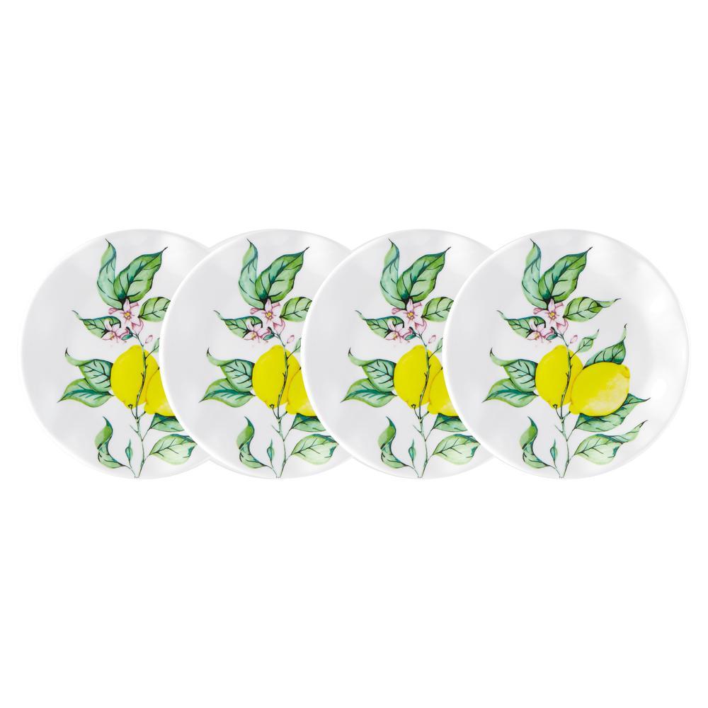 Limonata 4-Piece Yellow Melamine Appetizer Plate Set