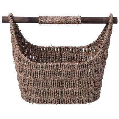 Free Standing Magazine and Toilet Paper Holder Basket with Wooden Rod in Natural