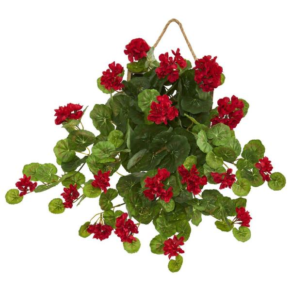 Nearly Natural 18 in. Indoor Geranium Artificial Plant in Decorative Hanging Frame