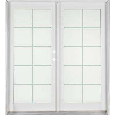 Professional Series 72 in. x 80 in. White Aluminum/Wood French Patio Door