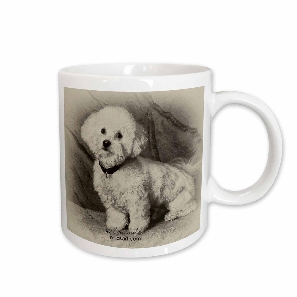 Milas Art Dogs 11 oz. White Ceramic Bichon Fries Mug