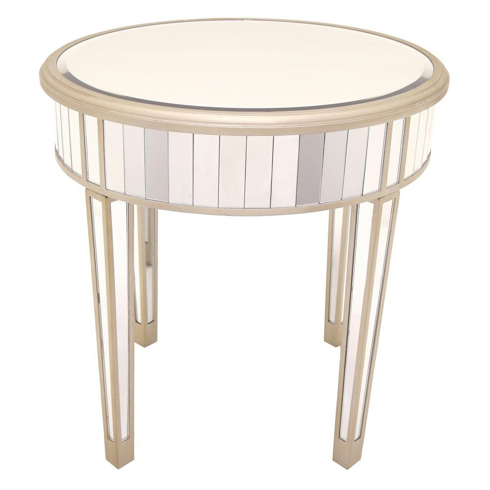 Champagne Mirrored Coffee Table: THREE HANDS 23.5 In. X 23.5 In. Champagne Mirrored Accent