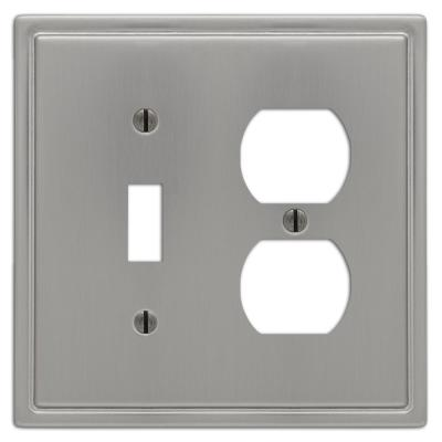 Moderne 2 Gang 1-Toggle and 1-Duplex Steel Wall Plate - Brushed Nickel