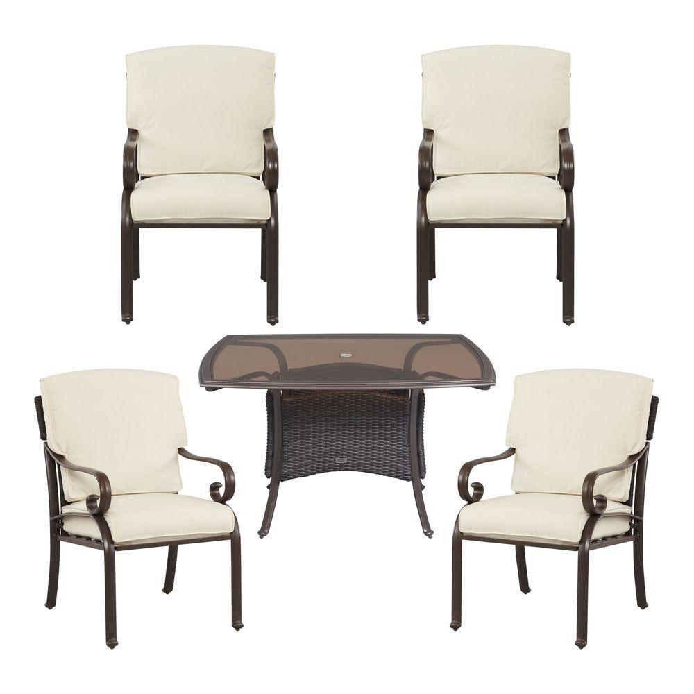 Martha Stewart Living Cedar Island 5-Piece All-Weather Wicker Patio Dining Set with Cushion Insert (Slipcovers Sold Separately)