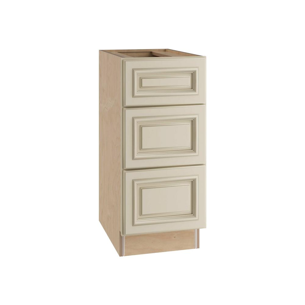 Home Decorators Collection 15x34.5x24 in. Holden Assembled Base Cabinet with 3 Drawers in Bronze Glaze