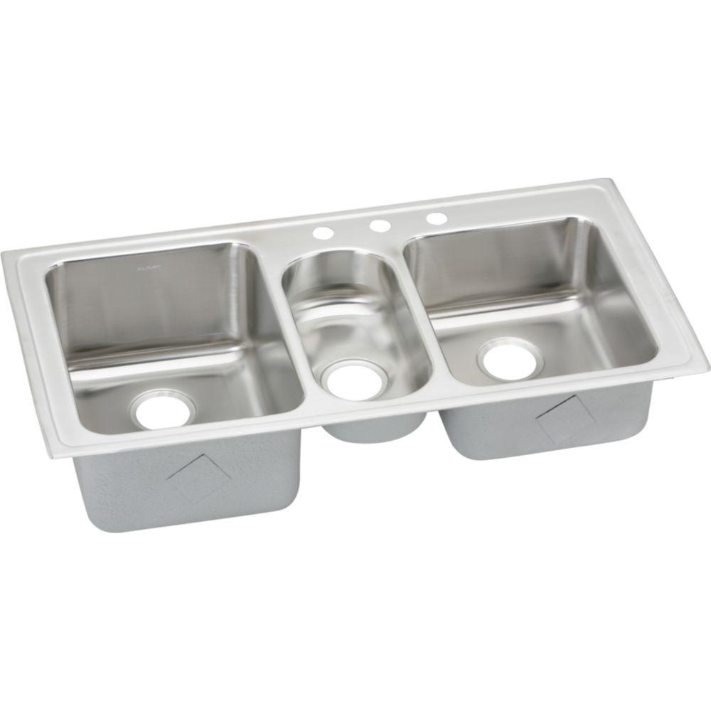 elkay lustertone drop in stainless steel 43 in  3 hole triple bowl kitchen elkay lustertone drop in stainless steel 43 in  3 hole triple bowl      rh   homedepot com