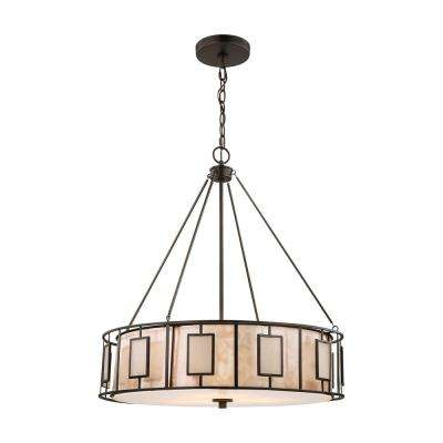 Drum mission chandeliers lighting the home depot minden 3 light tiffany bronze chandelier with mica and frosted seedy glass shade aloadofball Images