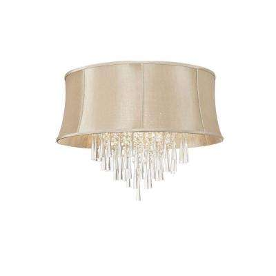 Catherine 8 Light Halogen Polished Chrome Chandelier with Cream Fabric Shades