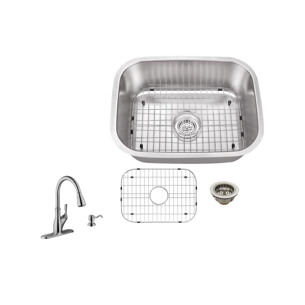 IPT Sink Company Undermount 23 in. 18-Gauge Stainless Steel Bar Sink ...