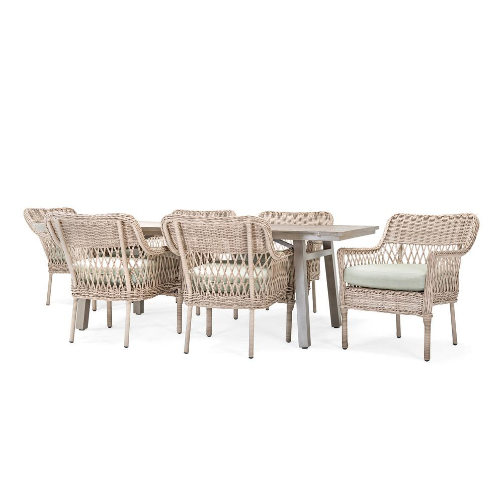 Colfax Wicker 7 Piece Outdoor Dining Set With Sunbrella Cast Oasis Cushion