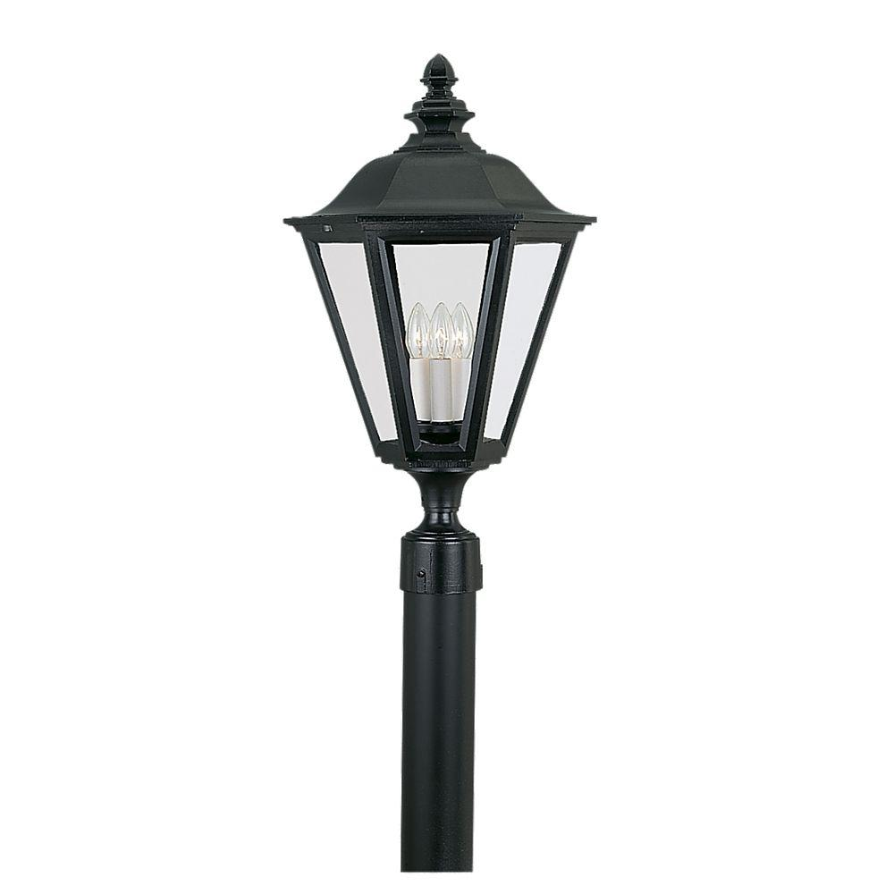 Sea gull lighting brentwood 3 light outdoor black post top 8231 12 sea gull lighting brentwood 3 light outdoor black post top aloadofball Gallery