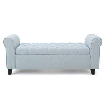 Keiko Tufted Light Sky Blue Fabric Armed Storage Bench