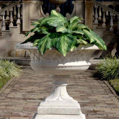 Larkin Arts and Crafts 23.5 in. H Ancient Ivory Fiberglass Architectural Garden Urn