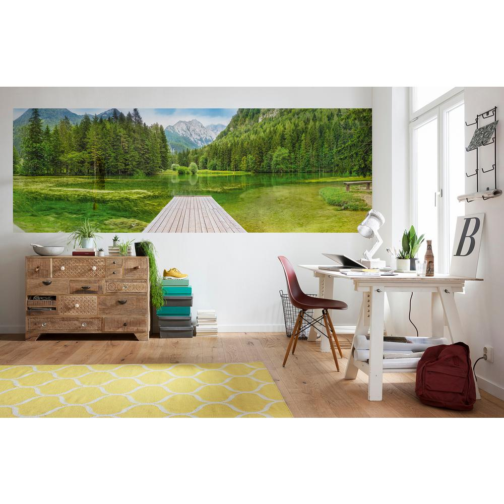Komar Scenic Landscapes Green Lake Wall Mural 4 538 The Home Depot
